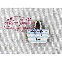 フランス製 木製ボタン 青い空色ストライプバッグ
