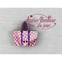 フランス製 木製ボタン 白ピンクバッグ